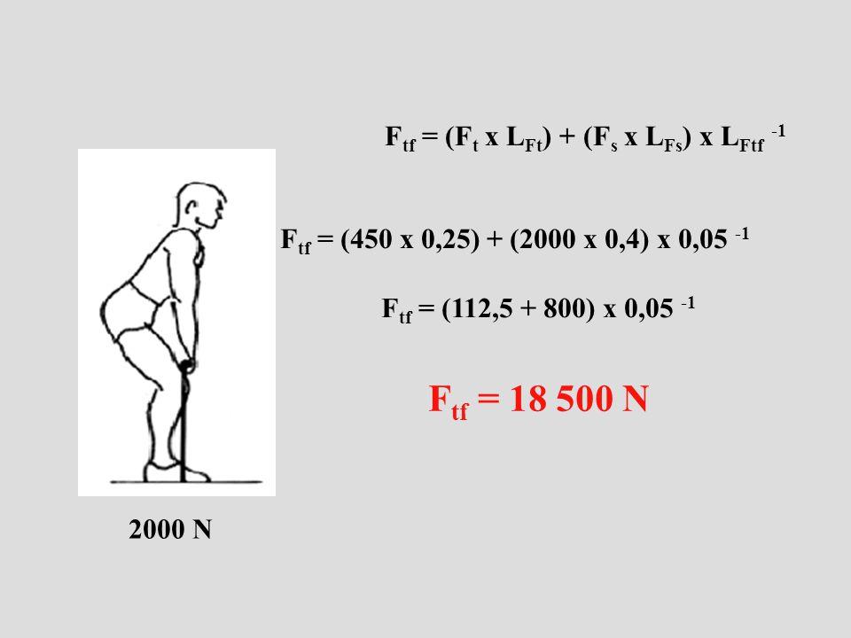 F tf = (F t x L Ft ) + (F s x L Fs ) x L Ftf -1 F tf = (450 x 0,25) + (2000 x 0,4) x 0,05 -1 F tf = (112,5 + 800) x 0,05 -1 F tf = 18 500 N 2000 N