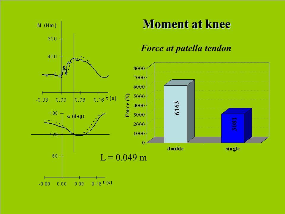 L = 0.049 m Moment at knee Force at patella tendon