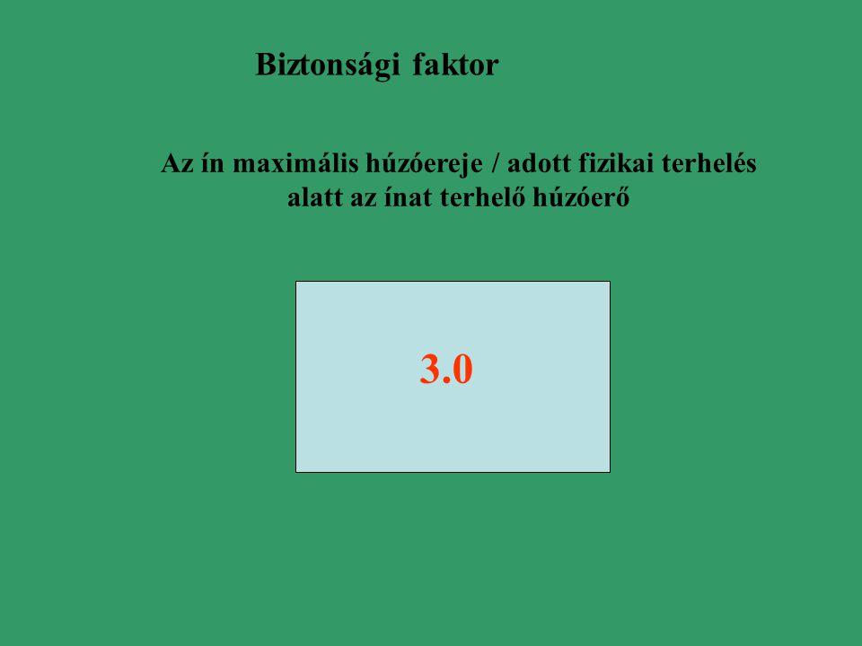 Biztonsági faktor 3.0 Az ín maximális húzóereje / adott fizikai terhelés alatt az ínat terhelő húzóerő