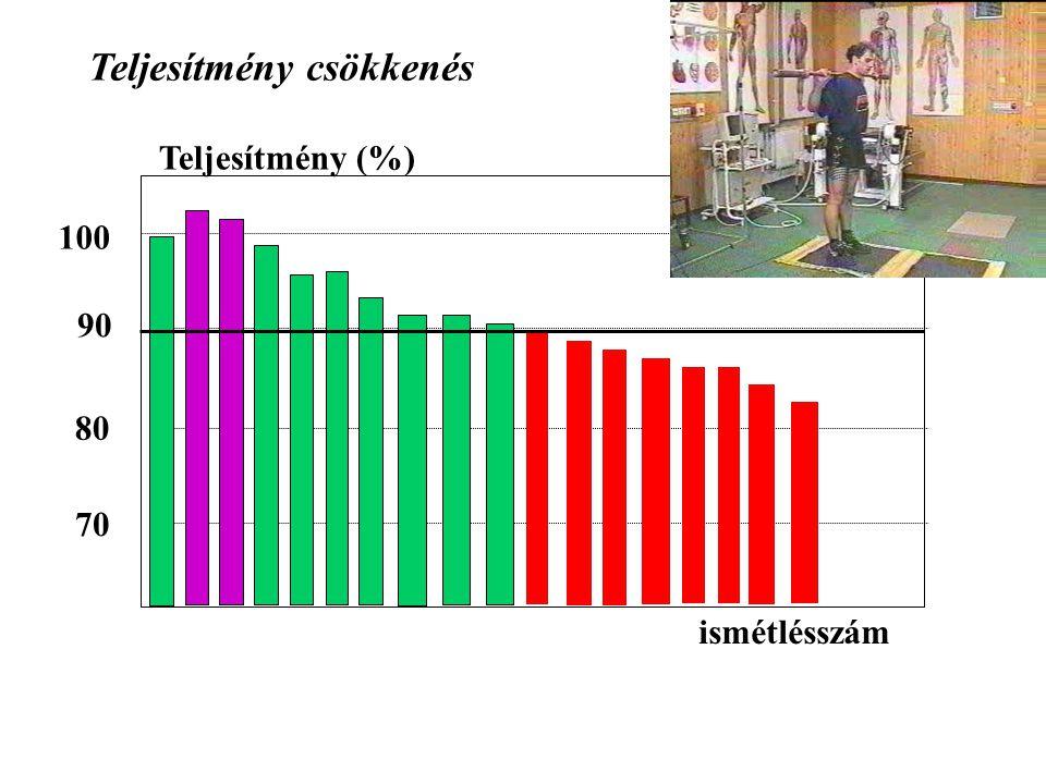 Teljesítmény (%) 100 90 80 70 Teljesítmény csökkenés ismétlésszám