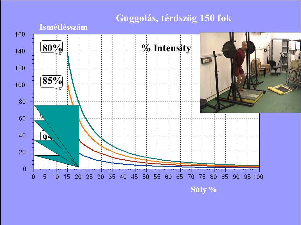 Ismétlésszám Súly % 80% 85% 90% 95% % Intensity Guggolás, térdszög 150 fok