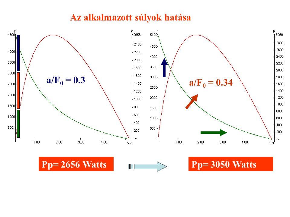 = 0.34 Pp= 2656 Watts a/F 0 = 0.3 Pp= 3050 Watts Az alkalmazott súlyok hatása