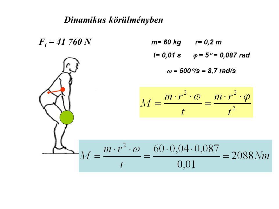m= 60 kgr= 0,2 m t= 0,01 s  = 5  = 0,087 rad  = 500  /s = 8,7 rad/s F i = 41 760 N Dinamikus körülményben