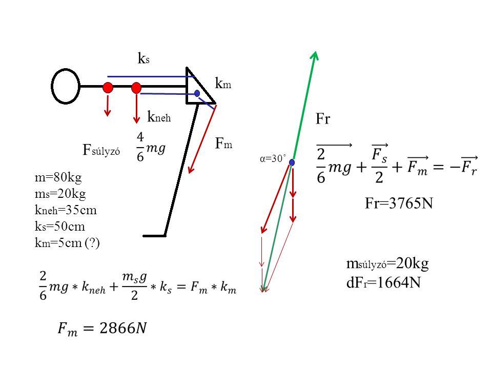 FmFm k neh kmkm Fr m=80kg k neh =35cm k m =5cm (?) α=30˚ Fr=2102N FmFm F neh -Fr