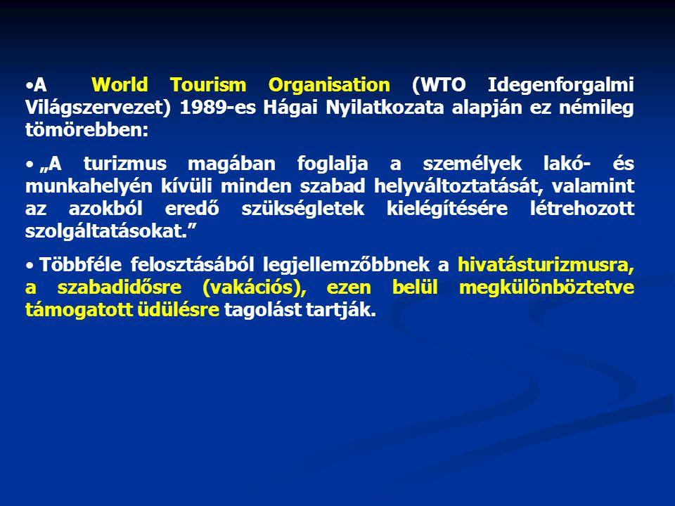 """A World Tourism Organisation (WTO Idegenforgalmi Világszervezet) 1989-es Hágai Nyilatkozata alapján ez némileg tömörebben: """"A turizmus magában foglalja a személyek lakó- és munkahelyén kívüli minden szabad helyváltoztatását, valamint az azokból eredő szükségletek kielégítésére létrehozott szolgáltatásokat. Többféle felosztásából legjellemzőbbnek a hivatásturizmusra, a szabadidősre (vakációs), ezen belül megkülönböztetve támogatott üdülésre tagolást tartják."""