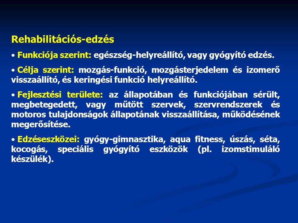 Rehabilitációs-edzés Funkciója szerint: egészség-helyreállító, vagy gyógyító edzés.