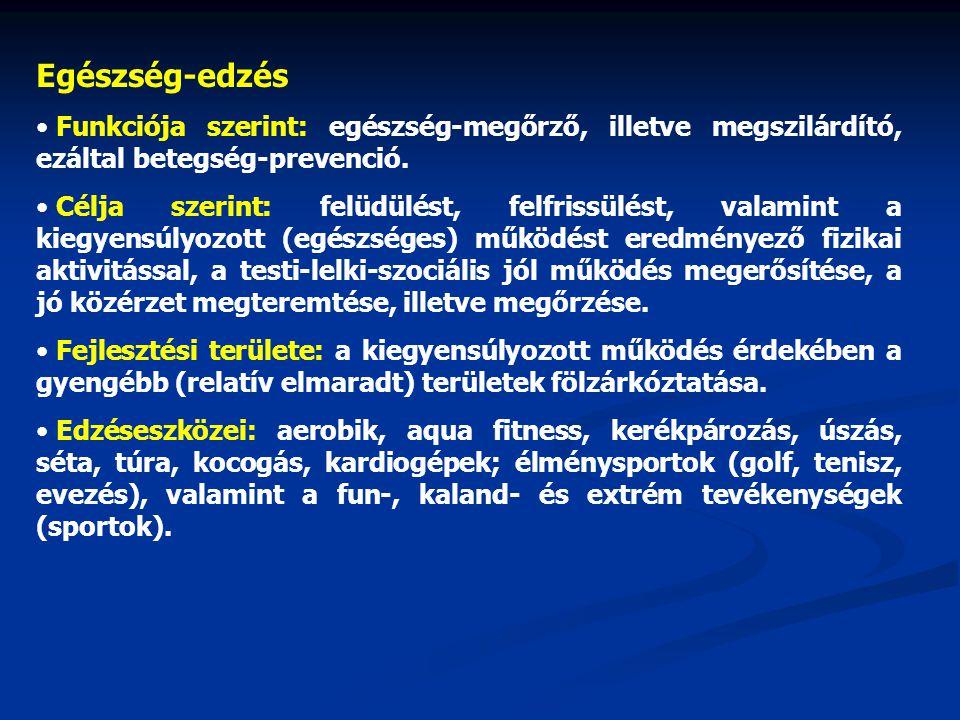 Egészség-edzés Funkciója szerint: egészség-megőrző, illetve megszilárdító, ezáltal betegség-prevenció.