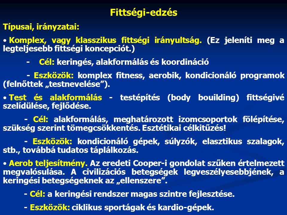 Fittségi-edzés Típusai, irányzatai: Komplex, vagy klasszikus fittségi irányultság.