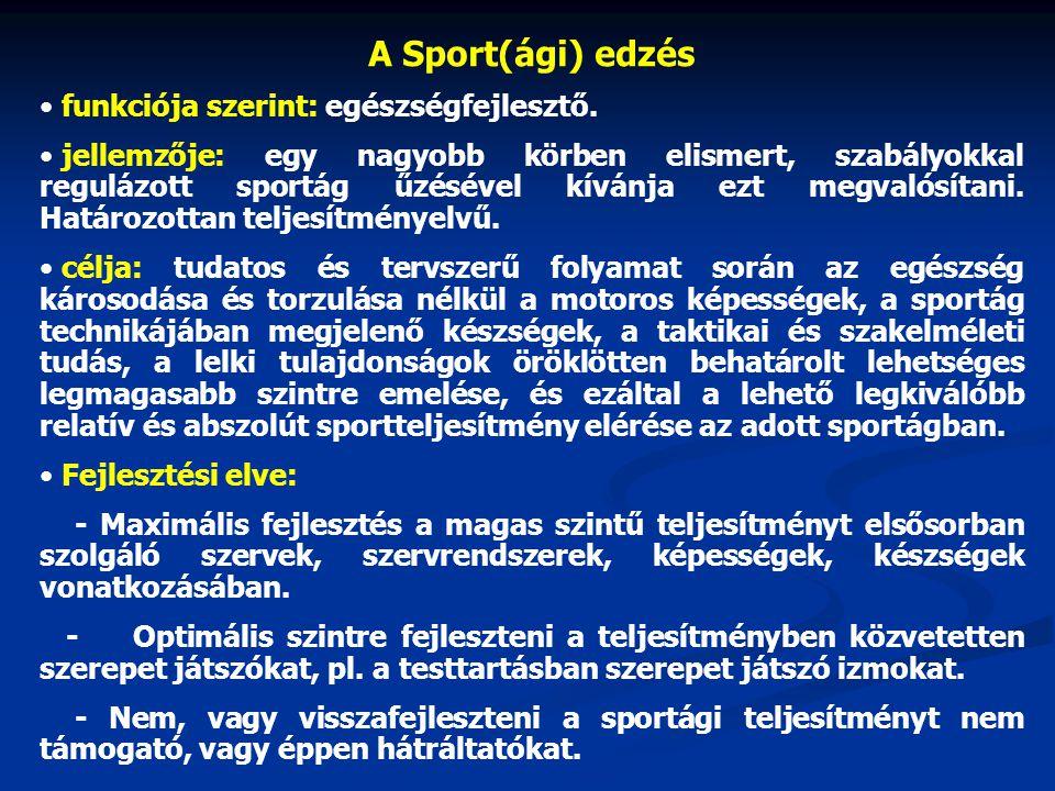 A Sport(ági) edzés funkciója szerint: egészségfejlesztő.