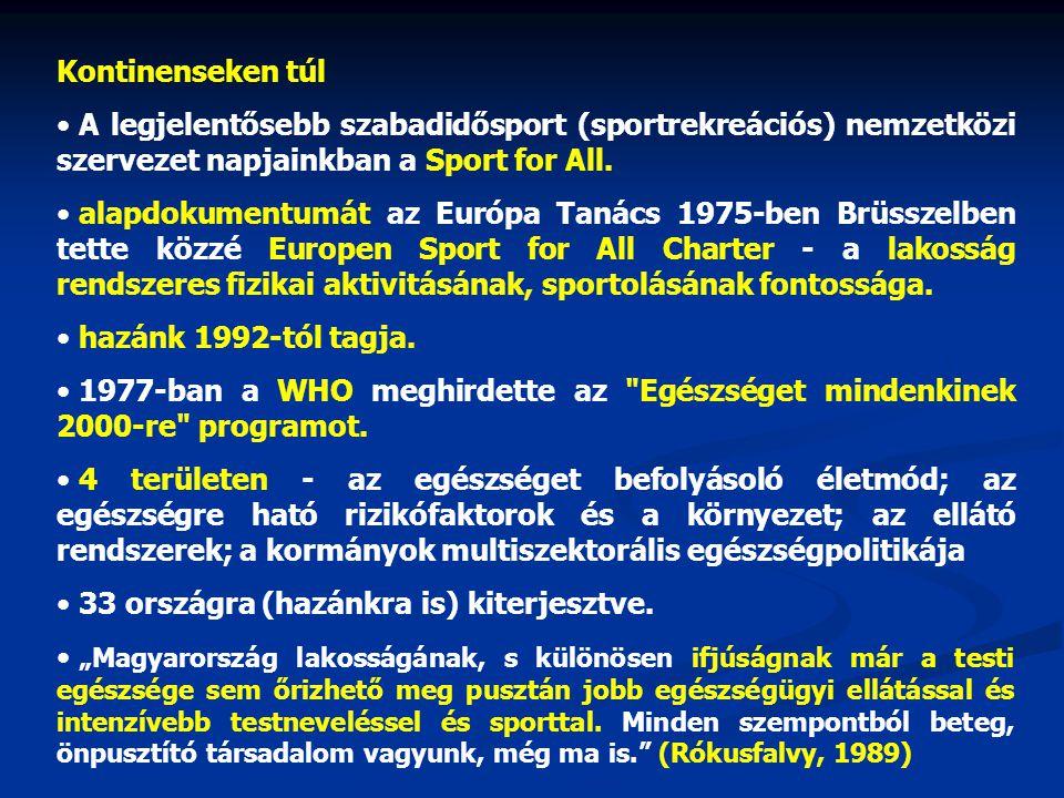 Kontinenseken túl A legjelentősebb szabadidősport (sportrekreációs) nemzetközi szervezet napjainkban a Sport for All. alapdokumentumát az Európa Tanác