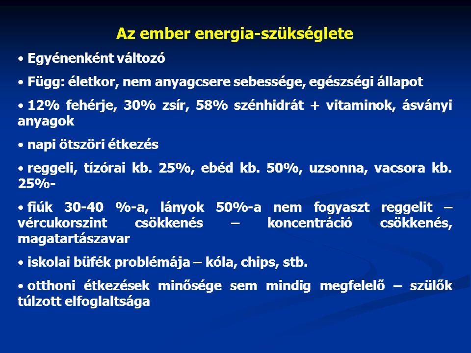 Az ember energia-szükséglete Egyénenként változó Függ: életkor, nem anyagcsere sebessége, egészségi állapot 12% fehérje, 30% zsír, 58% szénhidrát + vi