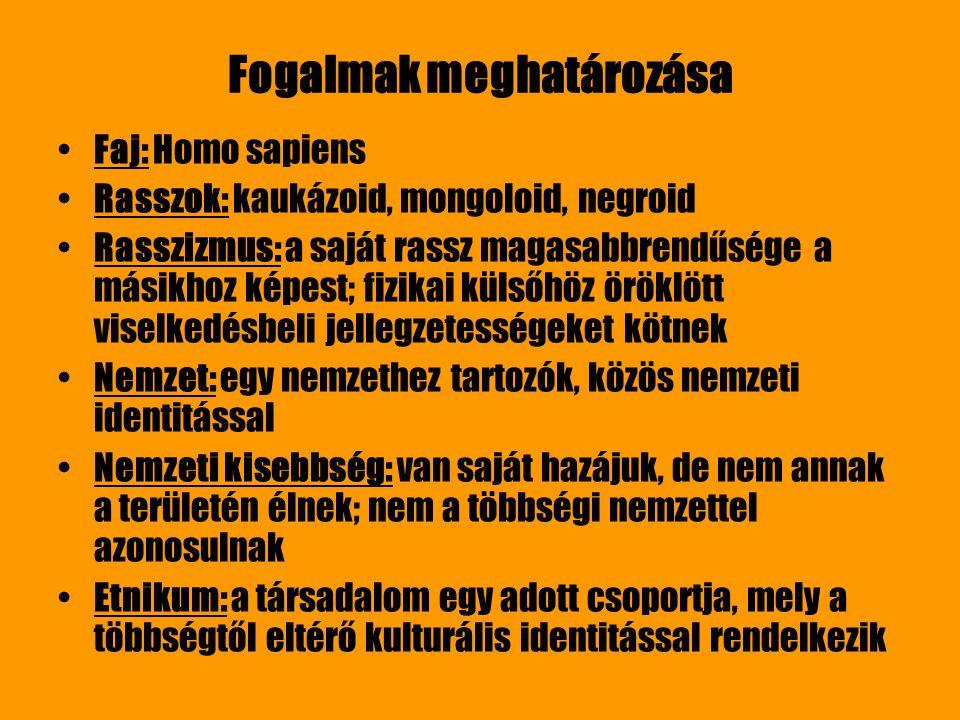 Fogalmak meghatározása Faj: Homo sapiens Rasszok: kaukázoid, mongoloid, negroid Rasszizmus: a saját rassz magasabbrendűsége a másikhoz képest; fizikai