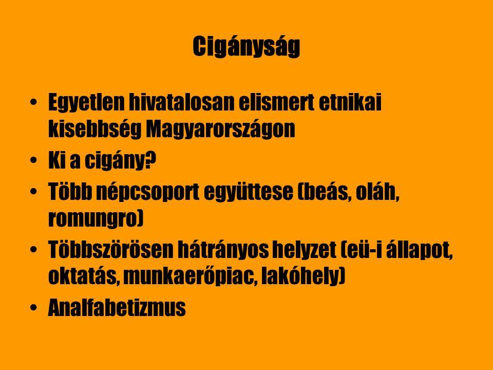 Cigányság Egyetlen hivatalosan elismert etnikai kisebbség Magyarországon Ki a cigány? Több népcsoport együttese (beás, oláh, romungro) Többszörösen há