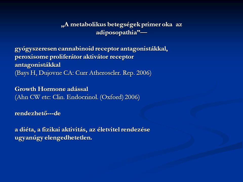 """""""A metabolikus betegségek primer oka az adiposopathia — gyógyszeresen cannabinoid receptor antagonistákkal, peroxisome proliferátor aktivátor receptor antagonistákkal (Bays H, Dujovne CA: Curr Atheroscler."""