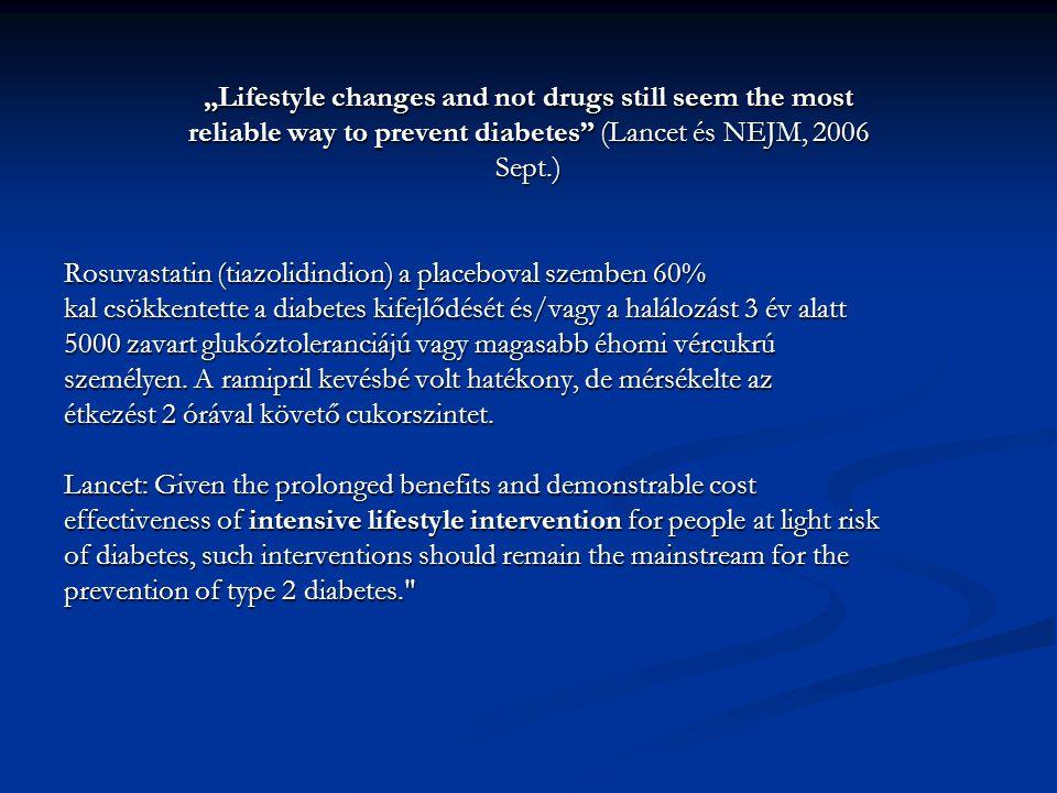 """""""Lifestyle changes and not drugs still seem the most reliable way to prevent diabetes (Lancet és NEJM, 2006 Sept.) Rosuvastatin (tiazolidindion) a placeboval szemben 60% kal csökkentette a diabetes kifejlődését és/vagy a halálozást 3 év alatt 5000 zavart glukóztoleranciájú vagy magasabb éhomi vércukrú személyen."""