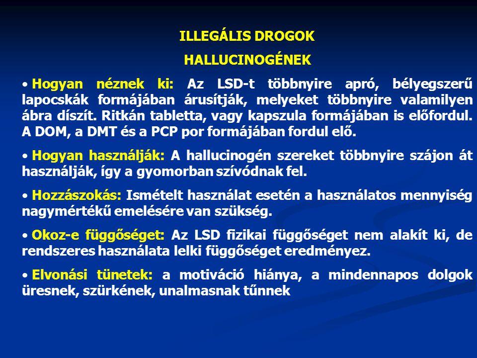 ILLEGÁLIS DROGOK HALLUCINOGÉNEK Hogyan néznek ki: Az LSD-t többnyire apró, bélyegszerű lapocskák formájában árusítják, melyeket többnyire valamilyen á