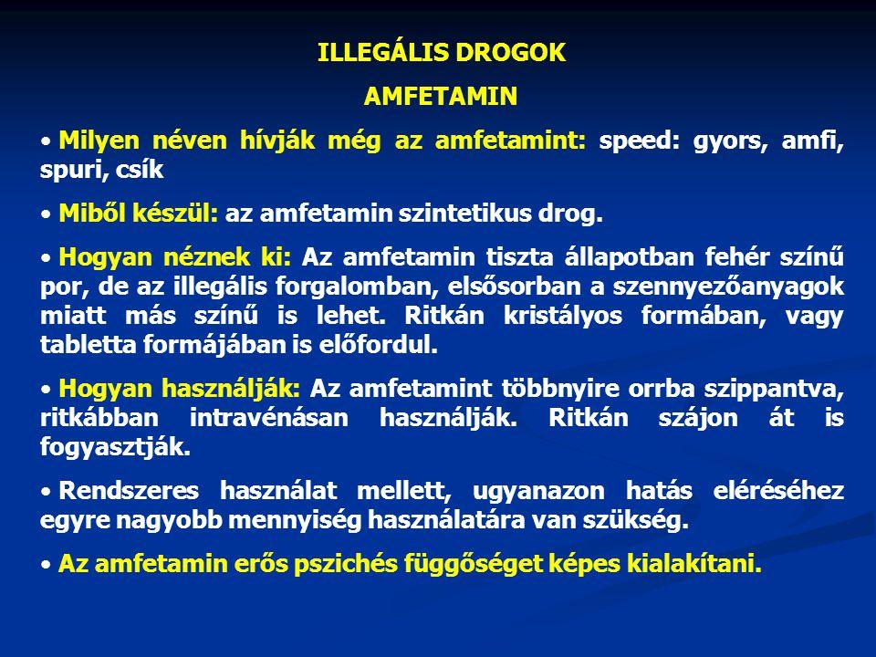 ILLEGÁLIS DROGOK AMFETAMIN Milyen néven hívják még az amfetamint: speed: gyors, amfi, spuri, csík Miből készül: az amfetamin szintetikus drog. Hogyan