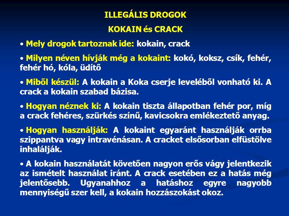 ILLEGÁLIS DROGOK KOKAIN és CRACK Mely drogok tartoznak ide: kokain, crack Milyen néven hívják még a kokaint: kokó, koksz, csík, fehér, fehér hó, kóla,