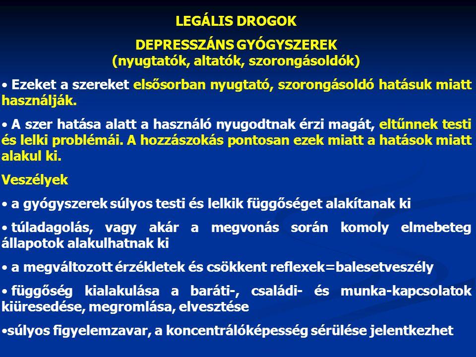 ILLEGÁLIS DROGOK HALLUCINOGÉNEK Mely drogok tartoznak ide: LSD, mágikus gombák.