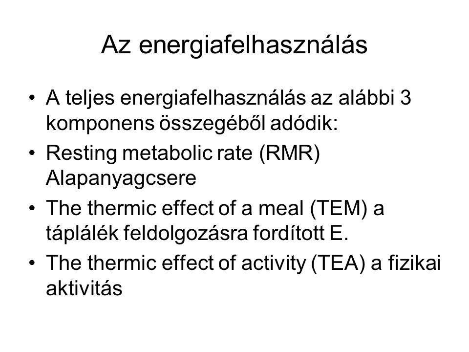 Az energiafelhasználás A teljes energiafelhasználás az alábbi 3 komponens összegéből adódik: Resting metabolic rate (RMR) Alapanyagcsere The thermic e