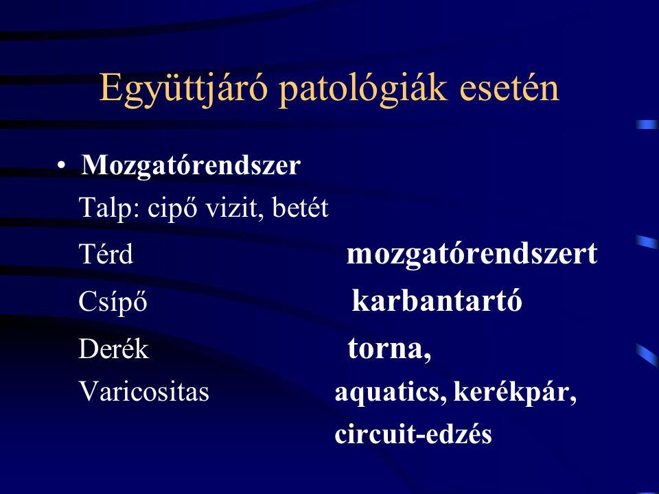 Együttjáró patológiák esetén Mozgatórendszer Talp: cipő vizit, betét Térd mozgatórendszert Csípő karbantartó Derék torna, Varicositas aquatics, kerékp
