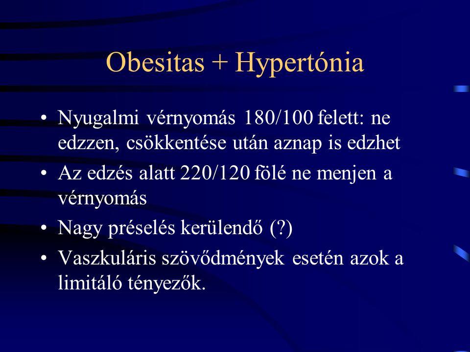 Obesitas + Hypertónia Nyugalmi vérnyomás 180/100 felett: ne edzzen, csökkentése után aznap is edzhet Az edzés alatt 220/120 fölé ne menjen a vérnyomás