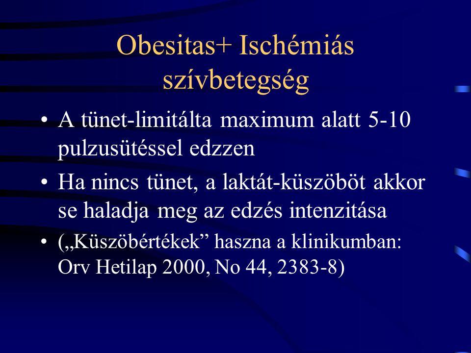 Obesitas+ Ischémiás szívbetegség A tünet-limitálta maximum alatt 5-10 pulzusütéssel edzzen Ha nincs tünet, a laktát-küszöböt akkor se haladja meg az e