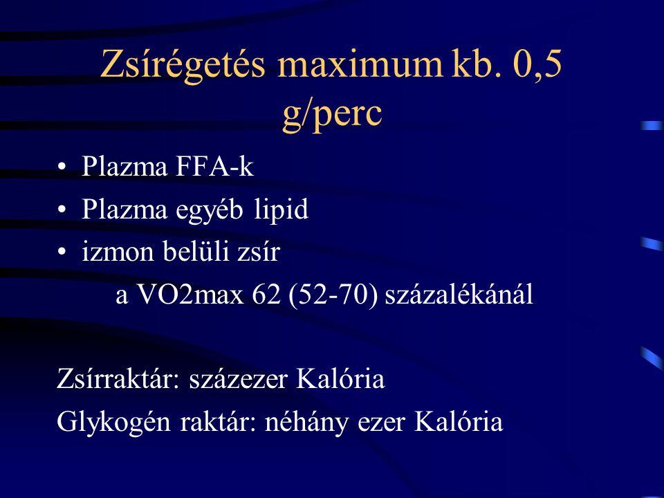 Zsírégetés maximum kb. 0,5 g/perc Plazma FFA-k Plazma egyéb lipid izmon belüli zsír a VO2max 62 (52-70) százalékánál Zsírraktár: százezer Kalória Glyk
