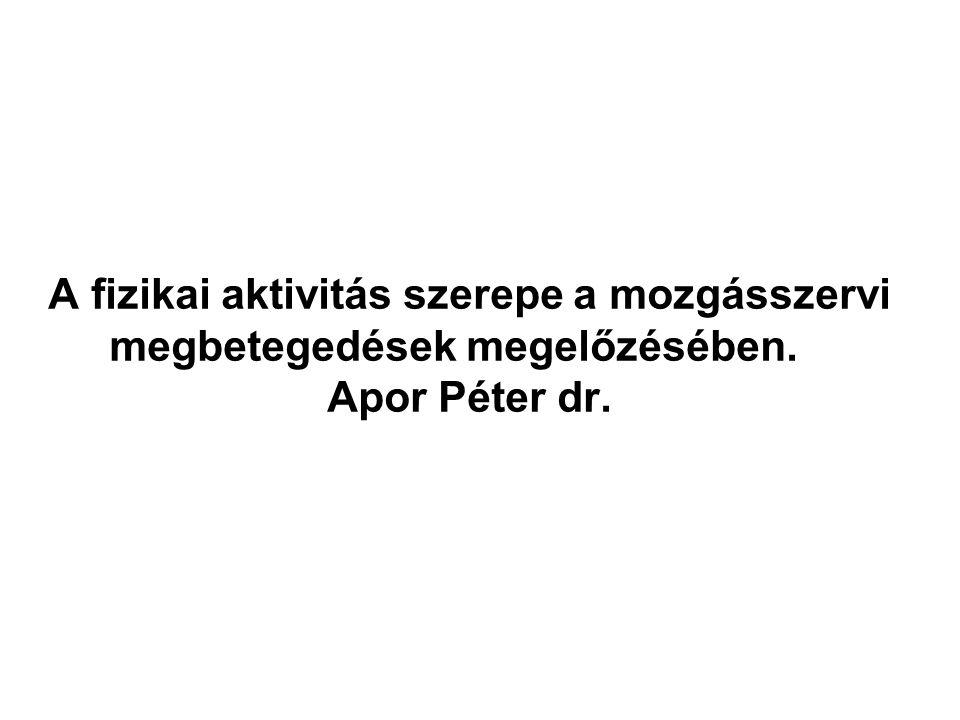 A fizikai aktivitás szerepe a mozgásszervi megbetegedések megelőzésében. Apor Péter dr.