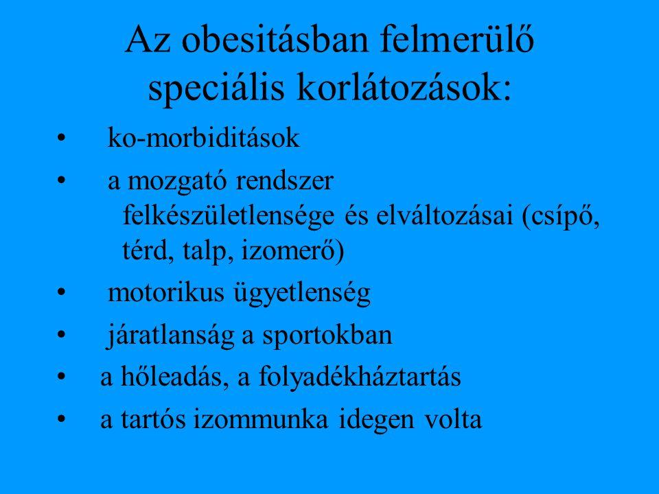 Az obesitásban felmerülő speciális korlátozások: ko-morbiditások a mozgató rendszer felkészületlensége és elváltozásai (csípő, térd, talp, izomerő) mo