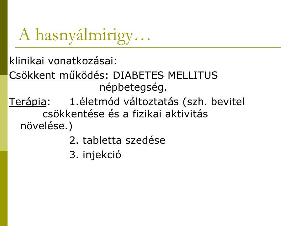 A hasnyálmirigy… klinikai vonatkozásai: Csökkent működés: DIABETES MELLITUS népbetegség. Terápia:1.életmód változtatás (szh. bevitel csökkentése és a