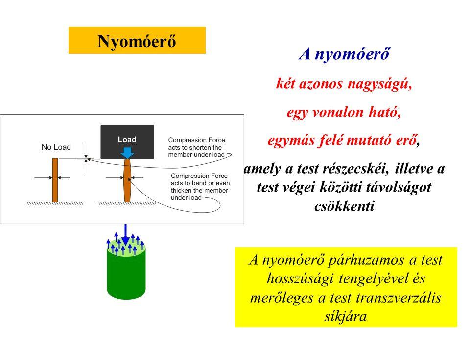 Húzóerő A húzóerő két azonos nagyságú, egy vonalon ható, de ellentétes irányú erő, amely a test részecskéi, illetve a test végei közötti távolságot nö