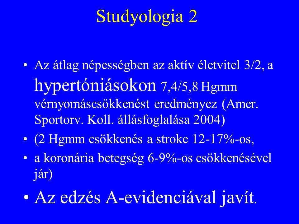 """""""Studyologia 3 A hypertóniás férfiak közül a magas fittségűek esélye 51-60 százalékkal kisebb a halálozásra (Church 2001)."""
