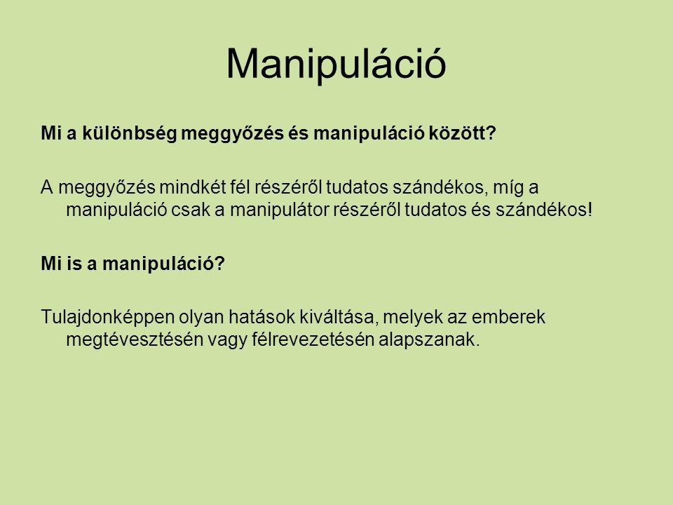 Manipuláció Mi a különbség meggyőzés és manipuláció között.