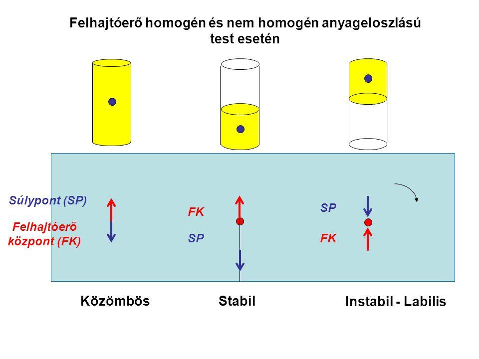 Felhajtóerő FoFo FoFo F1F1 F2F2 h1h1 h2h2 Hidrosztatikai nyomóerő (F e ) = felhajtóerő (F f ) h 2 – h 1 = H A H = V test F e = - A H  g = -V test  g