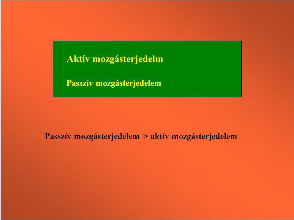 Aktív mozgásterjedelm Passzív mozgásterjedelem Passzív mozgásterjedelem > aktív mozgásterjedelem