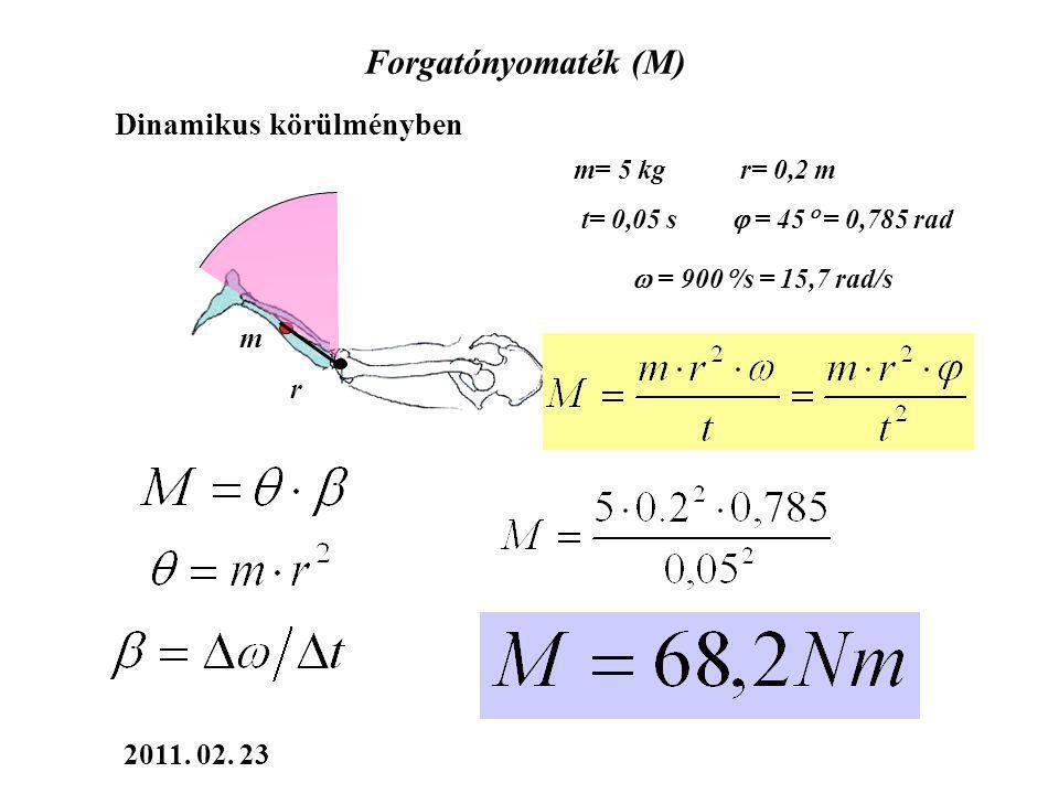 Forgatónyomaték (M) m mg k Erő(teher) kar= a forgáspontból az erő hatásvonalára bocsátott merőleges egyenes hossza Statikus helyzetben m= 5 kg r= 0,2