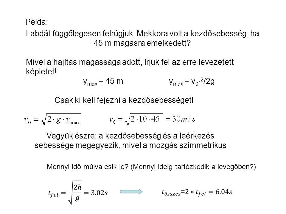 G=mg F F-G= m a FÜGGŐLEGES HAJÍTÁS G < F (állandó) S1S1 S2S2 S3S3 Kérdés: a levegőben tartózkodás egy adott t időpillanatában milyen magasan helyezked