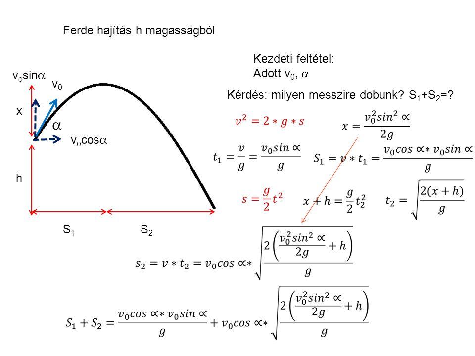 Ferde hajítás S max = v x · 2t fel t lev / 2= t fel = v y /g S max h max Max, ha  =45˚ Példa: v 0 =20m/s, S max =?