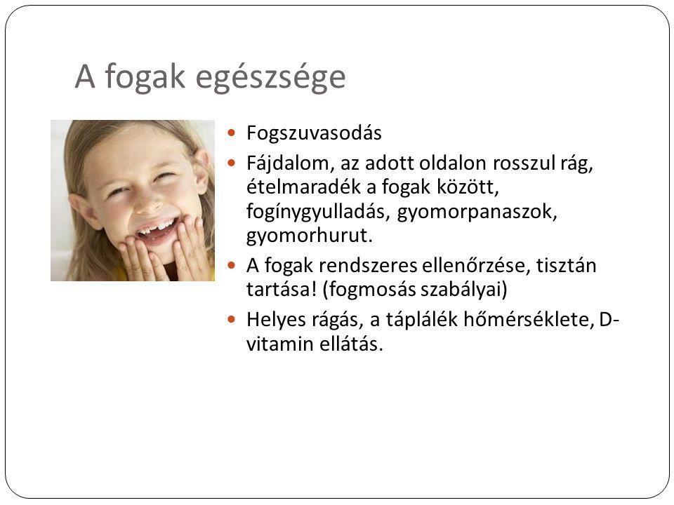 A fogak egészsége Fogszuvasodás Fájdalom, az adott oldalon rosszul rág, ételmaradék a fogak között, fogínygyulladás, gyomorpanaszok, gyomorhurut. A fo