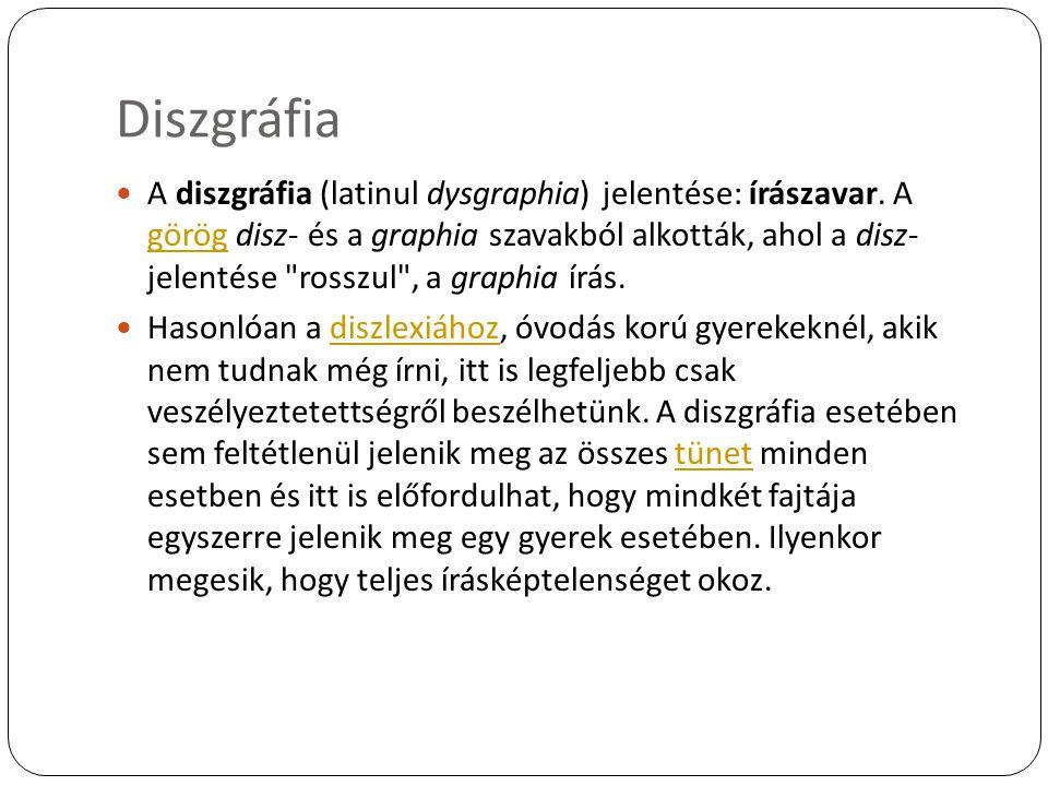 Diszgráfia A diszgráfia (latinul dysgraphia) jelentése: írászavar. A görög disz- és a graphia szavakból alkották, ahol a disz- jelentése