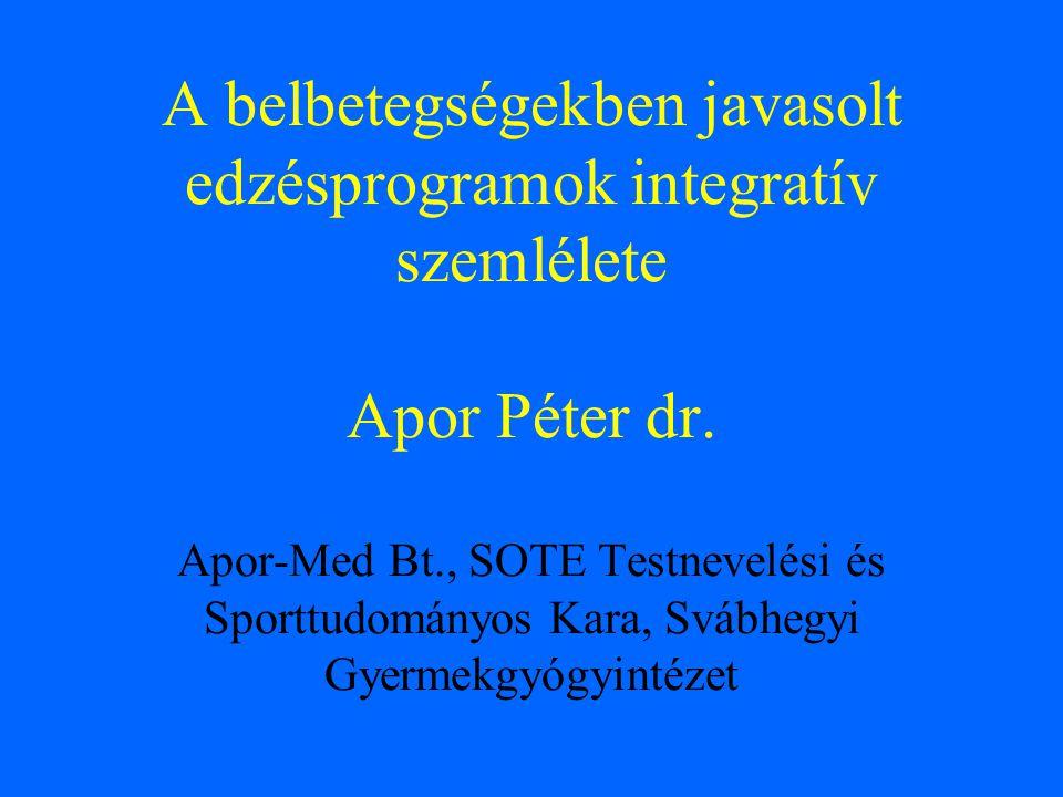A belbetegségekben javasolt edzésprogramok integratív szemlélete Apor Péter dr. Apor-Med Bt., SOTE Testnevelési és Sporttudományos Kara, Svábhegyi Gye