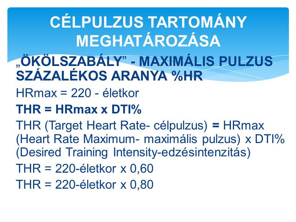 """""""ÖKÖLSZABÁLY"""" - MAXIMÁLIS PULZUS SZÁZALÉKOS ARANYA %HR HRmax = 220 - életkor THR = HRmax x DTI% THR (Target Heart Rate- célpulzus) = HRmax (Heart Rate"""