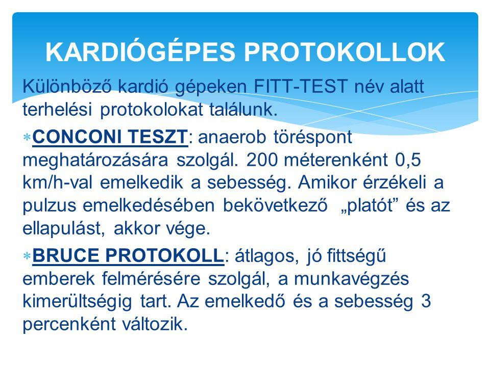 Különböző kardió gépeken FITT-TEST név alatt terhelési protokolokat találunk.  CONCONI TESZT: anaerob töréspont meghatározására szolgál. 200 méterenk