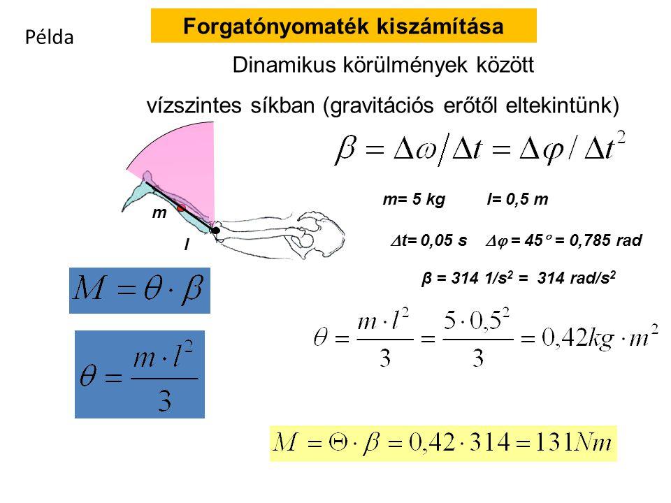Tehetetlenségi nyomaték – forgómozgásnál tömeg helyett M =   β M =   β  = m r 2 = 5 · 10 2 = 500 kg m 2 r = 10 r = 10 r = 20 m = 5 m = 10 m = 5 