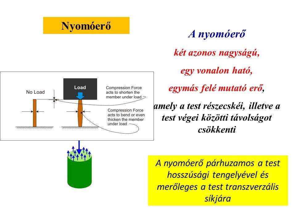 Húzóerő A húzóerő két azonos nagyságú, egy vonalon ható, de ellentétes irányú erő, amely a test részecskéi, illetve a test végei közötti távolságot növeli A húzóerő párhuzamos a test hosszúsági tengelyével és merőleges a test transzverzális síkjára Kétszer akkora terület Kétszer akkora erő/ellenállás F ̴ A