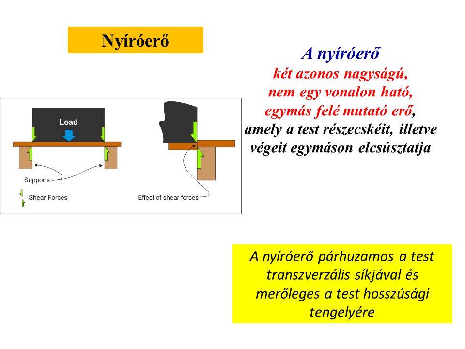 Nyomóerő A nyomóerő két azonos nagyságú, egy vonalon ható, egymás felé mutató erő, amely a test részecskéi, illetve a test végei közötti távolságot csökkenti A nyomóerő párhuzamos a test hosszúsági tengelyével és merőleges a test transzverzális síkjára