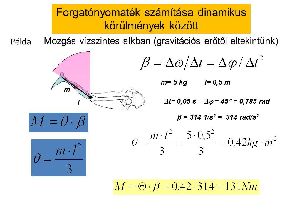 l m m= 5 kgl= 0,5 m  t= 0,05 s  = 45  = 0,785 rad β = 314 1/s 2 = 314 rad/s 2 Mozgás vízszintes síkban (gravitációs erőtől eltekintünk) Példa Forgatónyomaték számítása dinamikus körülmények között