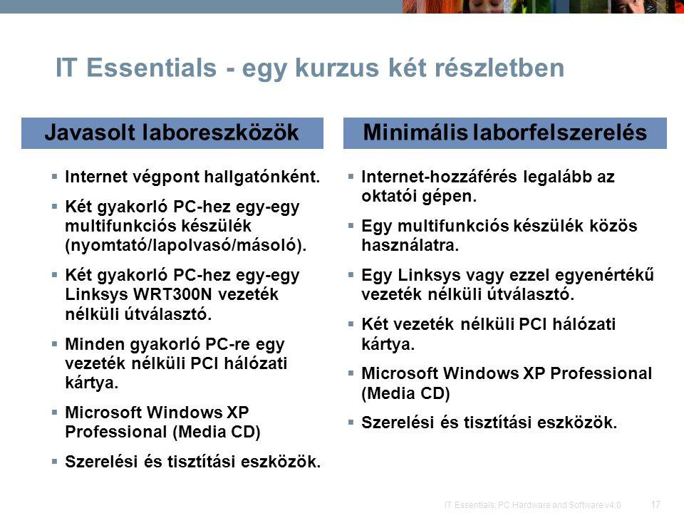 17 IT Essentials: PC Hardware and Software v4.0 IT Essentials - egy kurzus két részletben  Internet végpont hallgatónként.  Két gyakorló PC-hez egy-