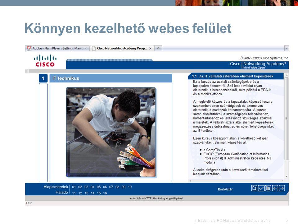 37 IT Essentials: PC Hardware and Software v4.0 Kapcsolódó linkek  Academy Connection weboldal –http://cisco.netacad.nethttp://cisco.netacad.net  HTTP alapítvány –http://htt-portal.huhttp://htt-portal.hu –http://http-alapitvany.huhttp://http-alapitvany.hu –http://htt-portal.hu/netacad/kepzesek/itehttp://htt-portal.hu/netacad/kepzesek/ite  Kanizsa és Térsége TISZK Nonprofit Kft.